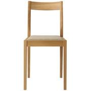 橡木椅子 / 棉平织 米色 / 宽38×深48.5×高79cm