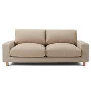 棉平织沙发主体宽扶手羽绒羽毛2.5人座用沙发套/米色