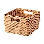 可重叠藤编方形篮 大 35×36×24cm