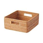 可重叠藤编方形篮 中 35×36×16cm