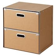 硬纸板柜/抽屉式/2层 约长37×宽27.5×高37cm