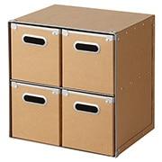 硬纸板柜/抽屉式/4個 约长37×宽27.5×高37cm
