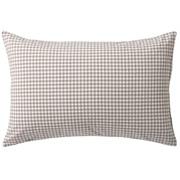 水洗棉枕套 50×70cm用 / 米色格纹