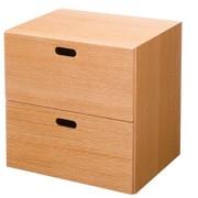 组合式收纳柜 / 抽屉2层 / 橡木 / 长37×宽28×高37cm