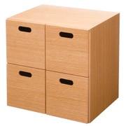 组合式收纳柜 / 抽屉4个 / 橡木 / 长37×宽28×高37cm