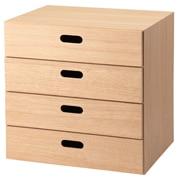 组合式收纳柜 / 抽屉4层 / 橡木 / 长37×宽28×高37cm