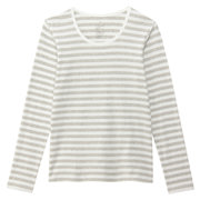 棉弹力圆领长袖T恤(条纹)