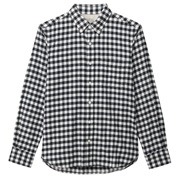 棉法兰绒格子纽扣领衬衫