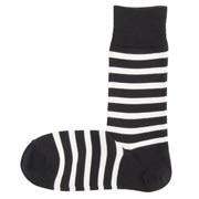 棉混合脚直角 宽条纹图案袜(男士)