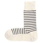 棉混合脚直角 条纹图案袜(男士)