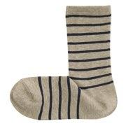 棉混合脚直角 条纹图案袜(女士)