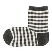 棉混合脚直角 格子图案短袜(女士)