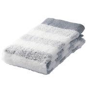 棉纱织起绒柔软面巾/海军蓝条纹 34×85cm