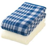 棉格纹面巾套装/蓝色 34×85cm/2条装