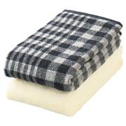 棉格纹面巾套装/炭灰色 34×85cm/2条装