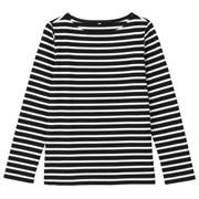 粗棉线条纹长袖T恤