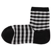 棉混合脚直角 格子短袜(女士 可选)