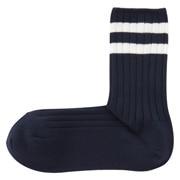 棉混合脚直角 带条纹罗纹袜(女士 可选)