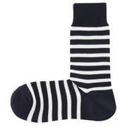棉混合脚直角 宽条纹袜(男士 可选)