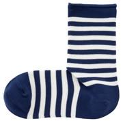 棉混合脚直角 宽条纹袜(女士 可选)