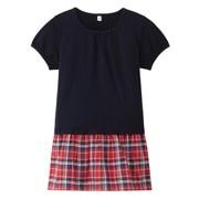 棉混格子拼接短袖束腰长上衣(孩童)