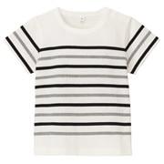 棉装饰条纹短袖T恤(婴儿)