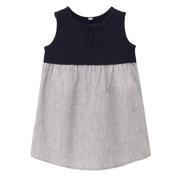 棉混条纹拼接无袖束腰长上衣(婴儿)