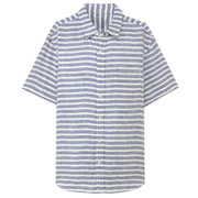 法国亚麻水洗条纹 短袖衬衫