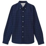靛蓝染色棉格子 纽扣领衬衫