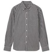 棉平纹双重格子纽扣领衬衫