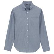 棉钱布雷定型纽扣领衬衫