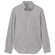 棉条纹定型纽扣领衬衫