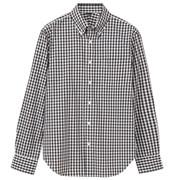棉平纹格子定型纽扣领衬衫