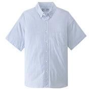 棉平纹条纹 纽扣领短袖宽版衬衫