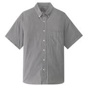 棉平纹格子 纽扣领短袖宽版衬衫