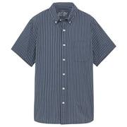 牛津棉条纹 纽扣领短袖衬衫