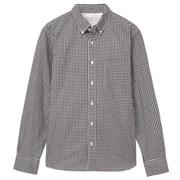 牛津棉格纹纽扣领衬衫