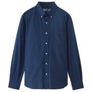 牛津棉条纹纽扣领衬衫