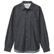 棉靛蓝染牛仔衬衫
