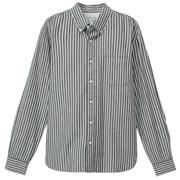 棉靛蓝染条纹纽扣领衬衫