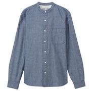 棉靛蓝染钱布雷立领衬衫