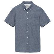 棉钱布雷 纽扣领短袖衬衫