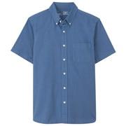 棉水洗 牛津纽扣领短袖衬衫
