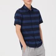 棉靛蓝染条纹短袖衬衫
