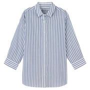 棉强捻纱布_条纹七分袖衬衫