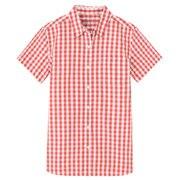 棉水洗 格子短袖衬衫