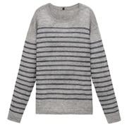 法国亚麻条纹圆领毛衣