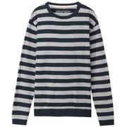粗细不均棉线条纹圆领长袖T恤