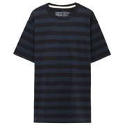 粗细不均棉线条纹圆领短袖T恤