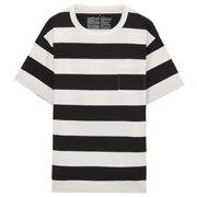 粗棉线粗条纹圆领短袖T恤